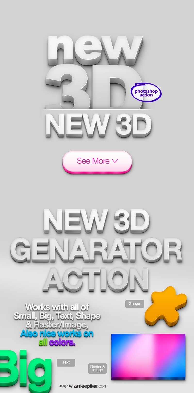 3 Dimensions | 3D Generator Action Photoshop