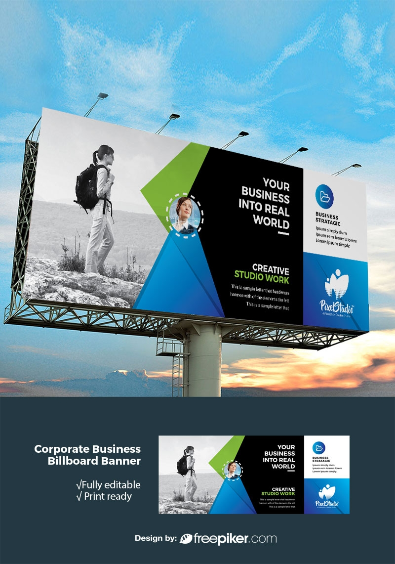 Advertisement Billboard Banner With Black and Blue