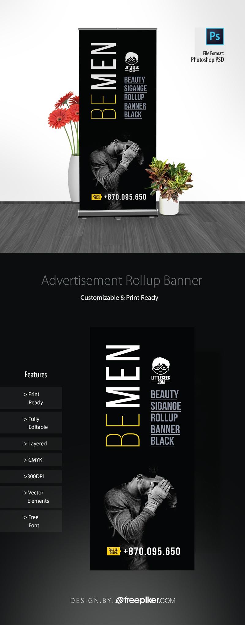 Advertisement Mens Fashion Black Rollup Banner