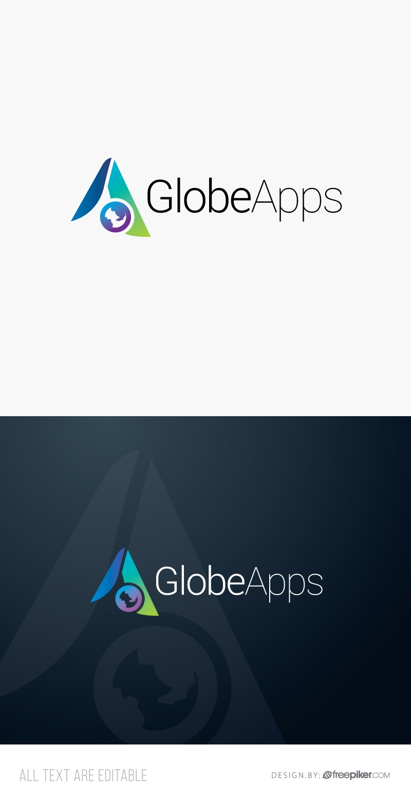 Apps Logo with A Letter & Globe Symbol