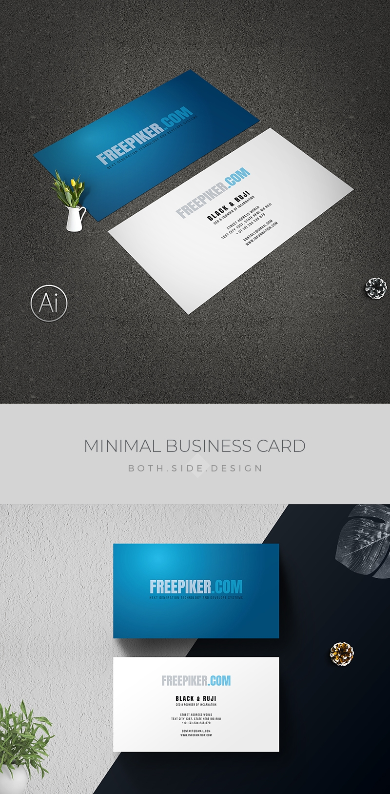 Awesome Business Card With Blue Accent