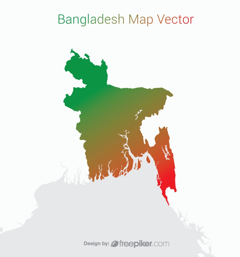 Bangladesh Map Gradient Vector Design