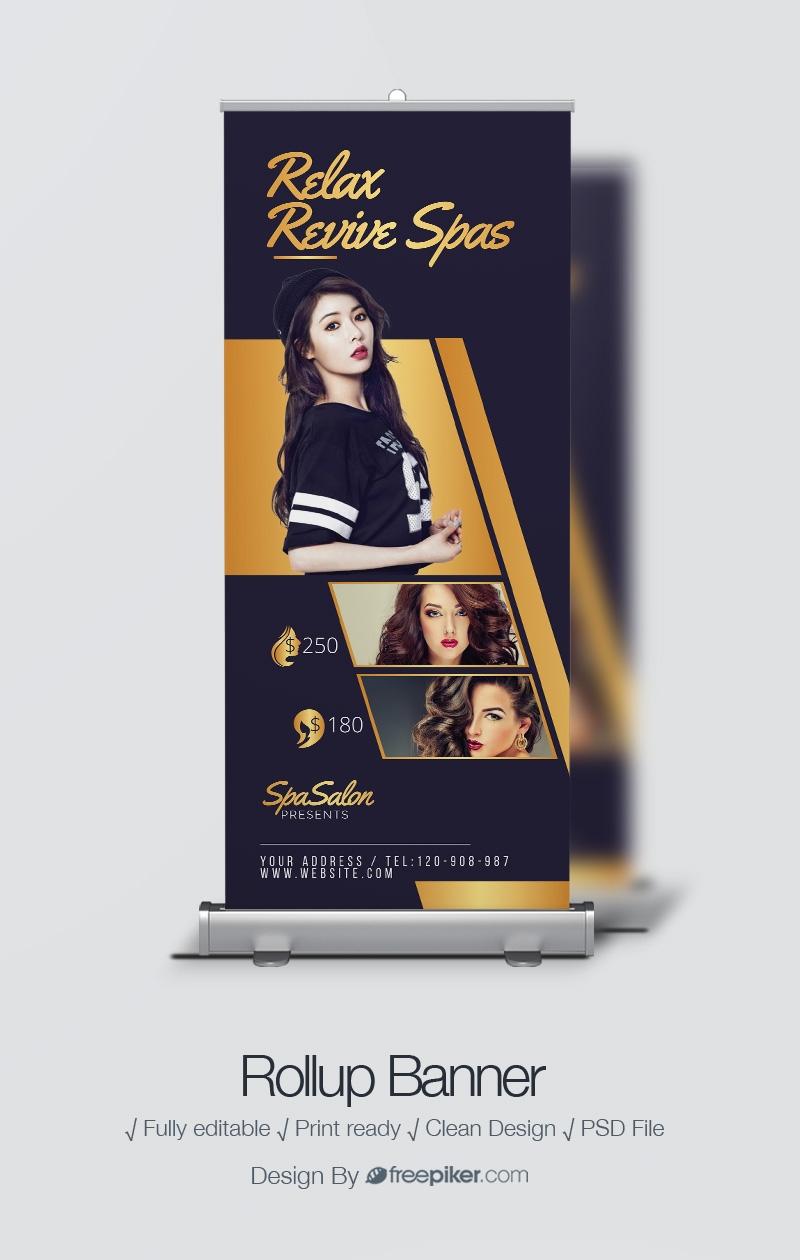 Freepiker Beauty Salon Modern Rollup Banner With Dark And Golden