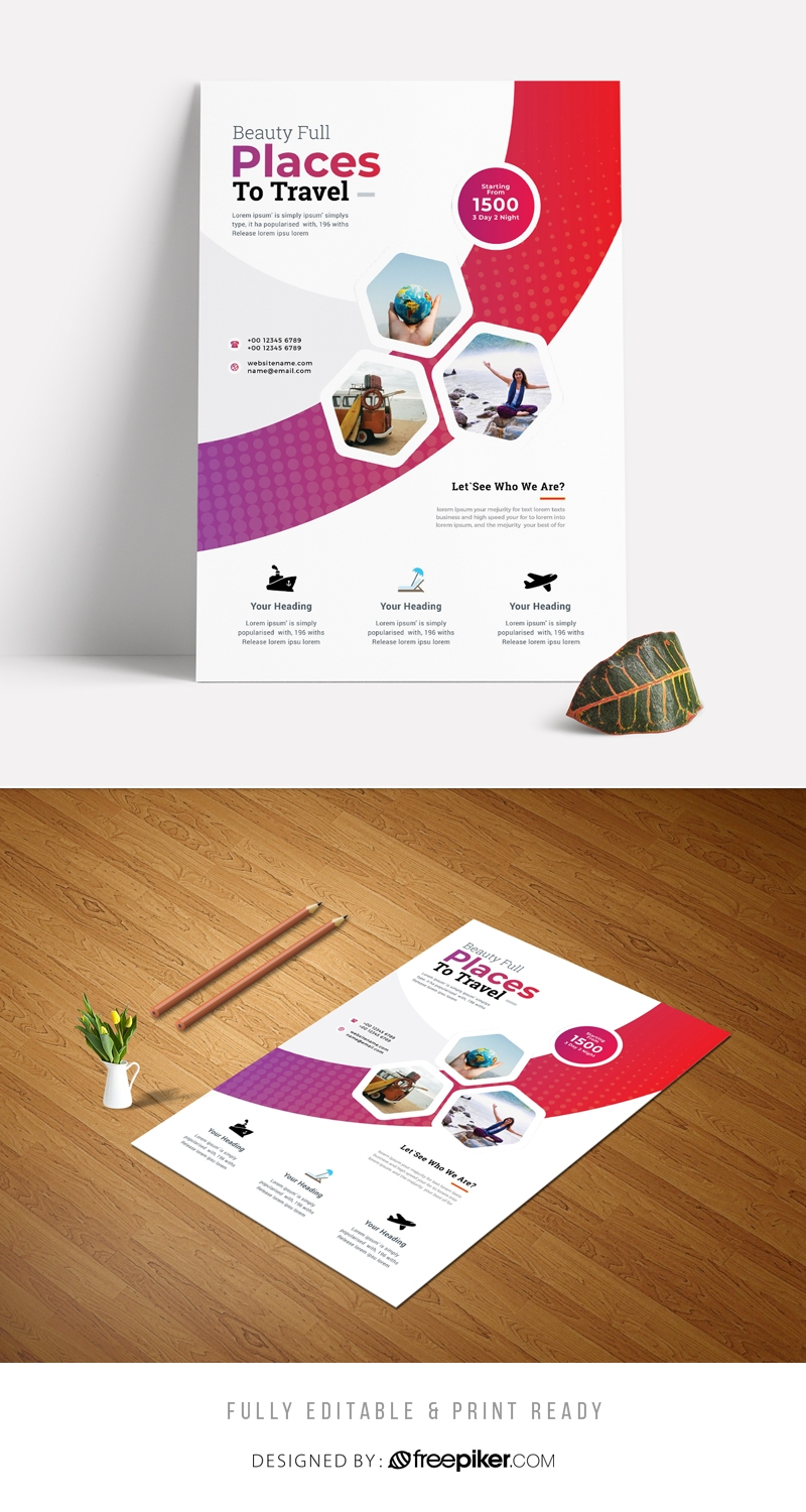 Best Travel Tourism Flyer 2020 With Hexagon