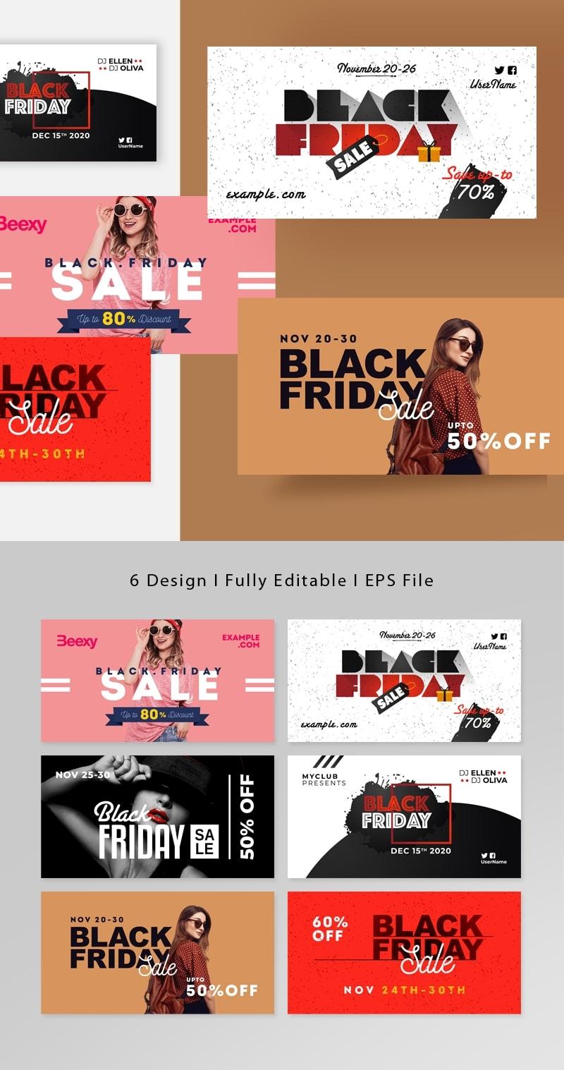 Black Friday Posting Kit Facebook Cover Design Layout
