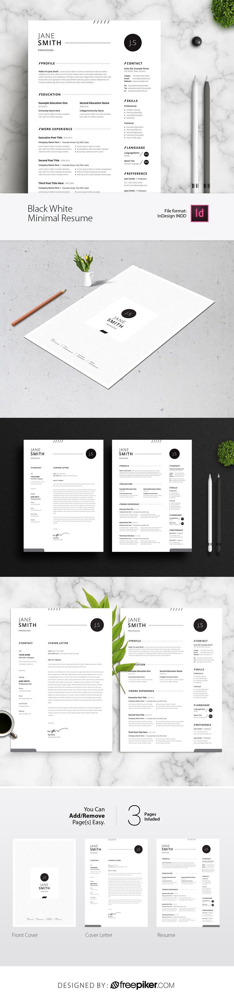 Black White Minimal Resume / CV