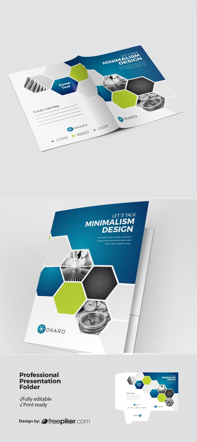 Blue Accent Infographic Business Presentation Folder