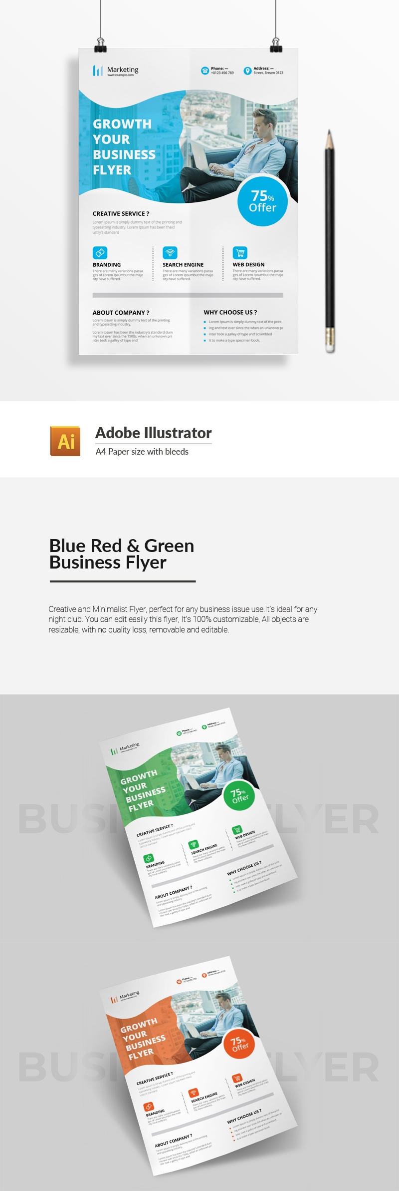 Blue Red & Green Business Flyer