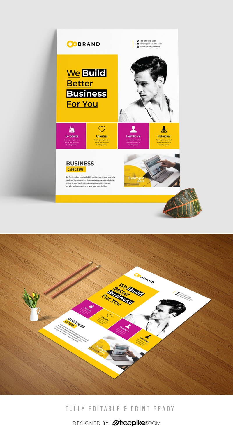 Boxs Style Business Flyer With Yellow Accent