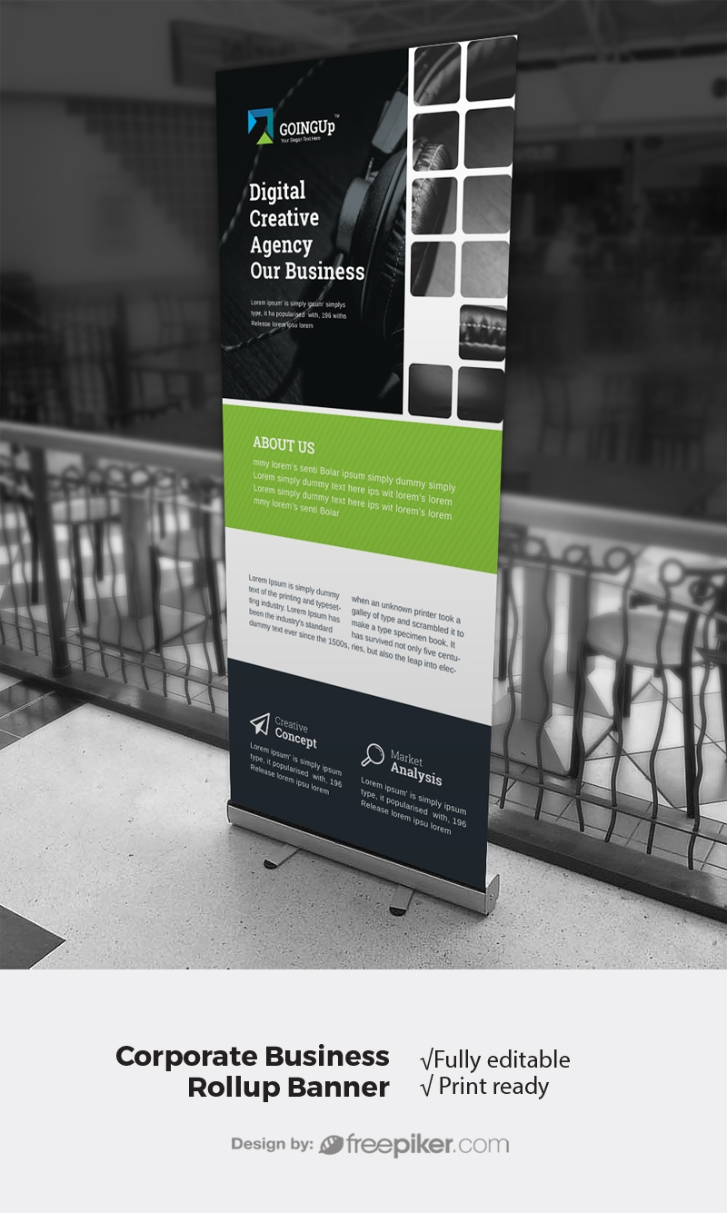 Boxs Style Rollup Banner With Black Green