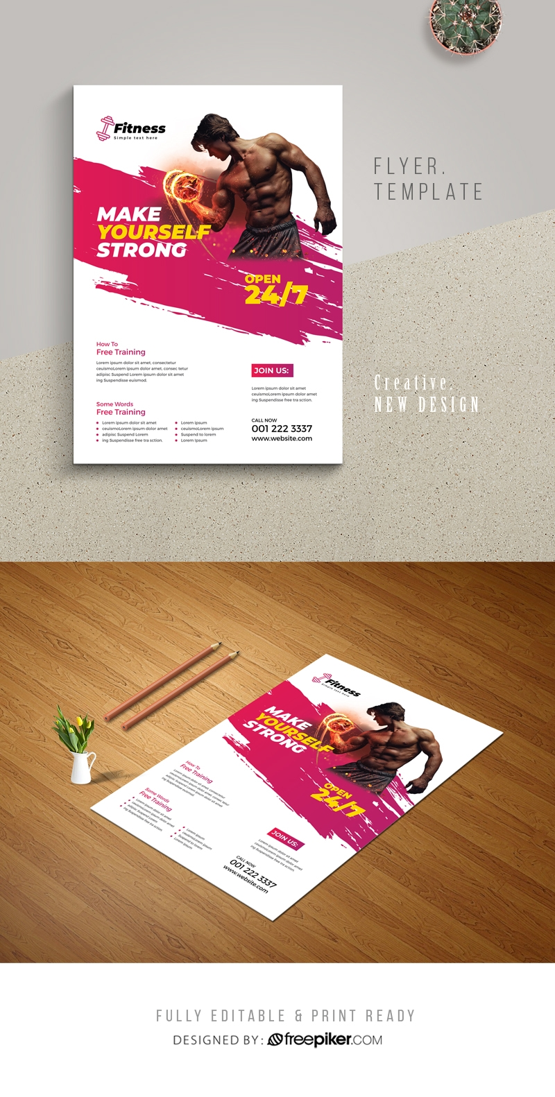 Brush Style Fitness Gym Flyer With Red Accent