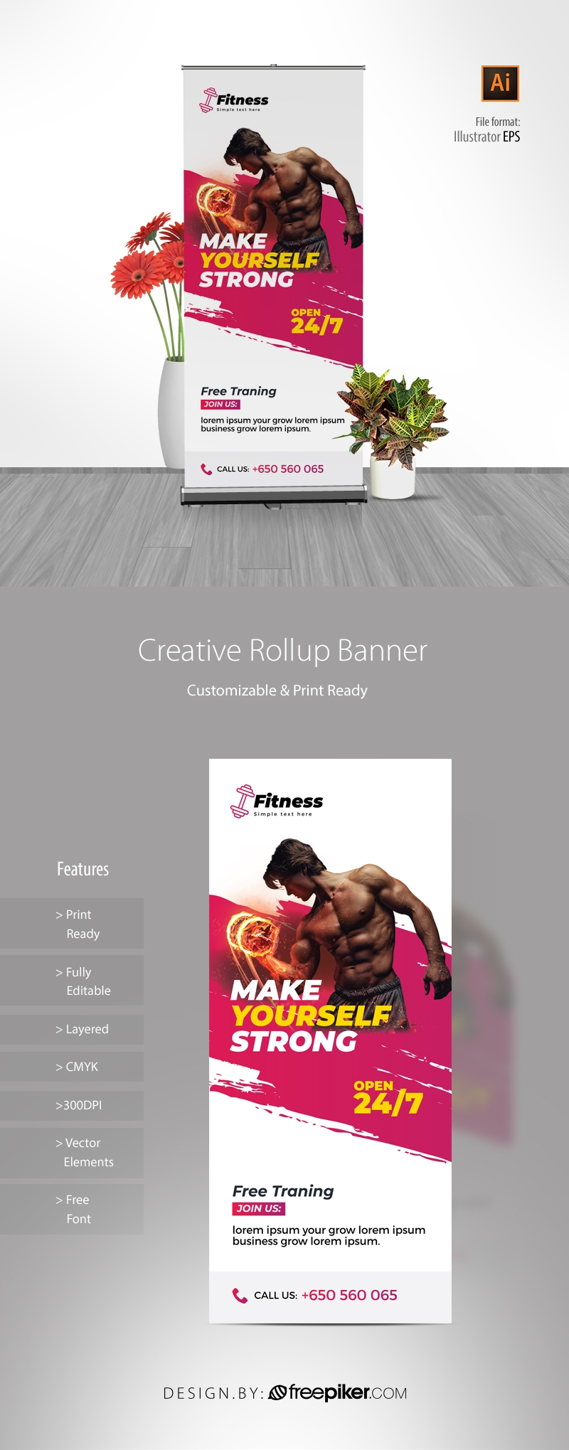 Brush Style Fitness Gym Rollup Banner With Red Accent