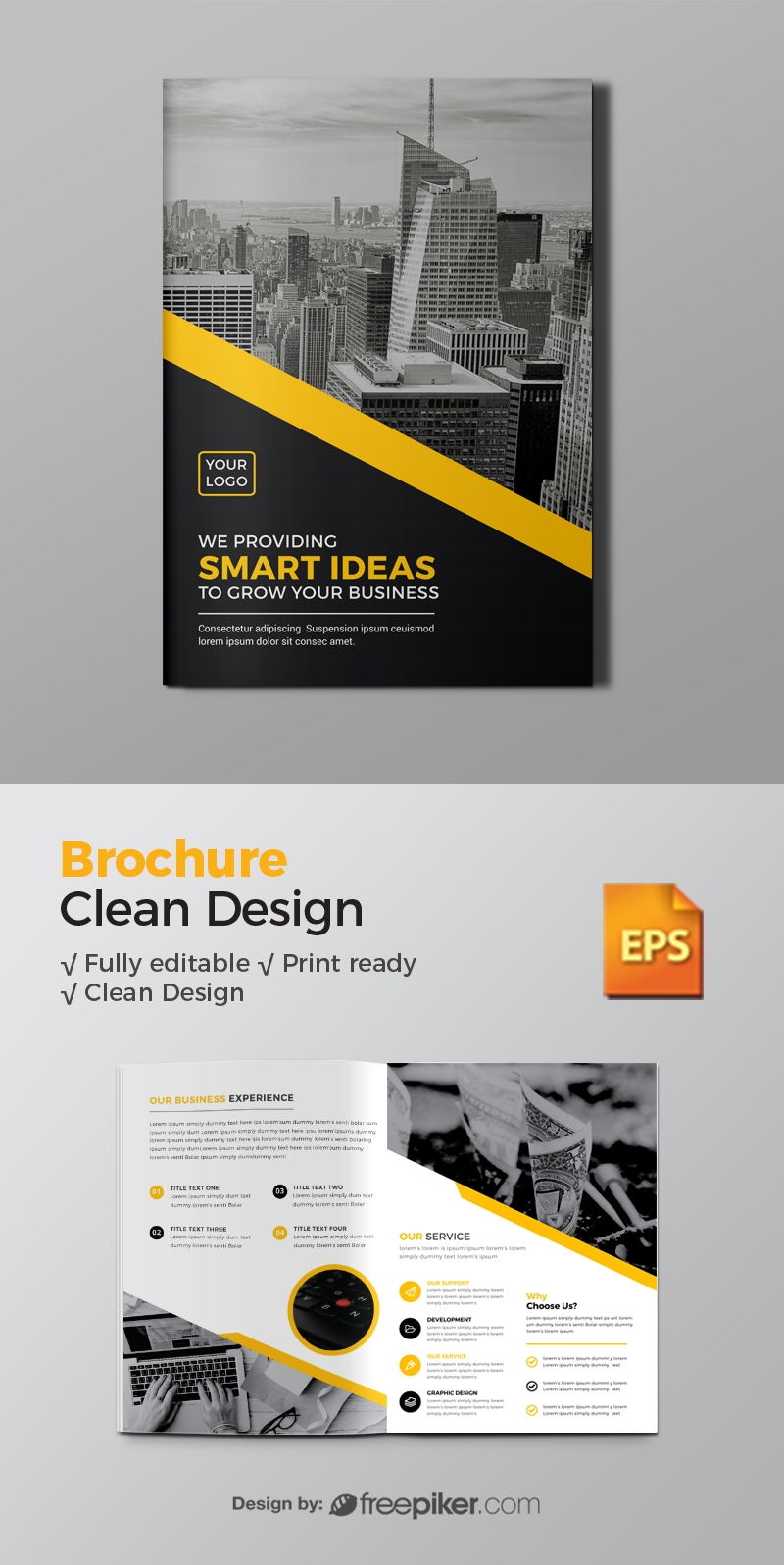 Business Bi-Fold Brochure With Black Blue Elements