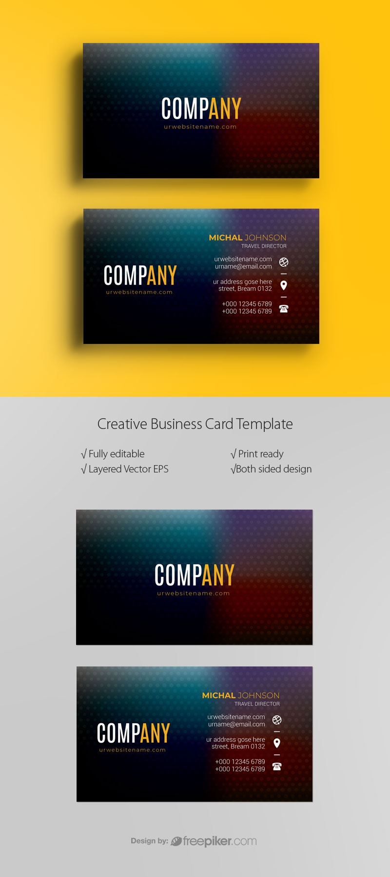 Business Card With Dark Color