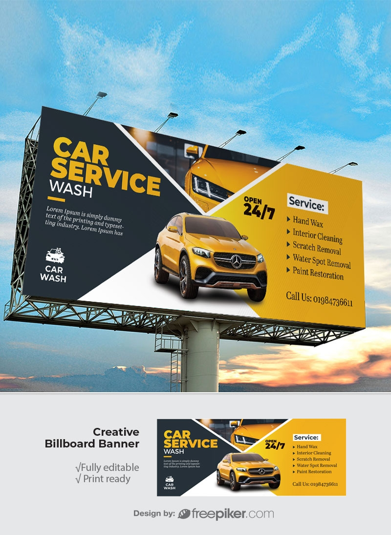 Car Wash Service Billboard Sinage With Yellow Accent
