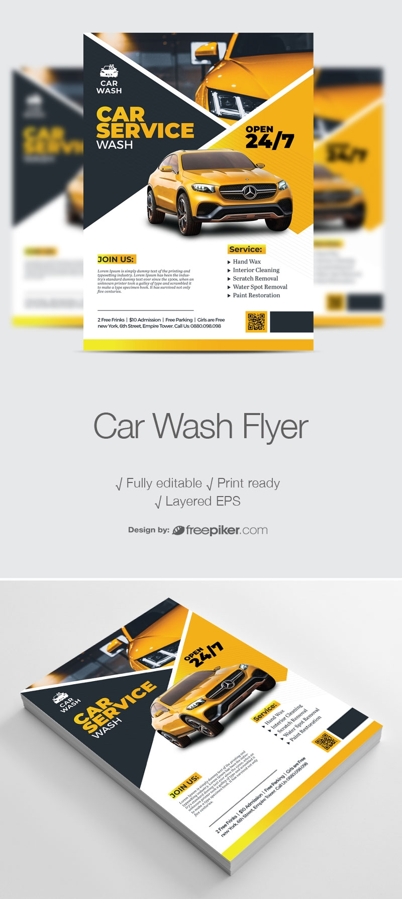 Car Wash Service Flyer With Yellow Accent