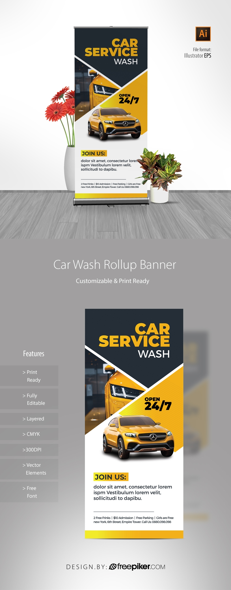 Car Wash Service Rollup Banner With Yellow Accent