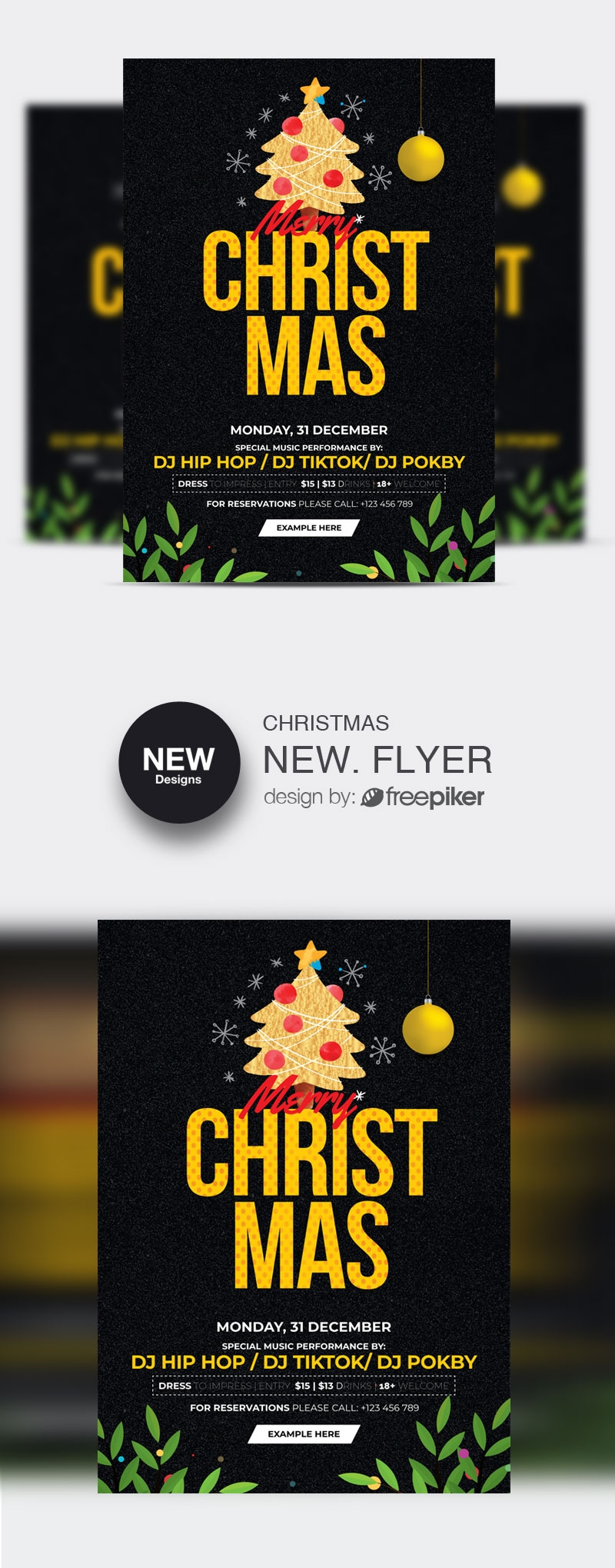 Christmas Flyer Template With Dark & Golden