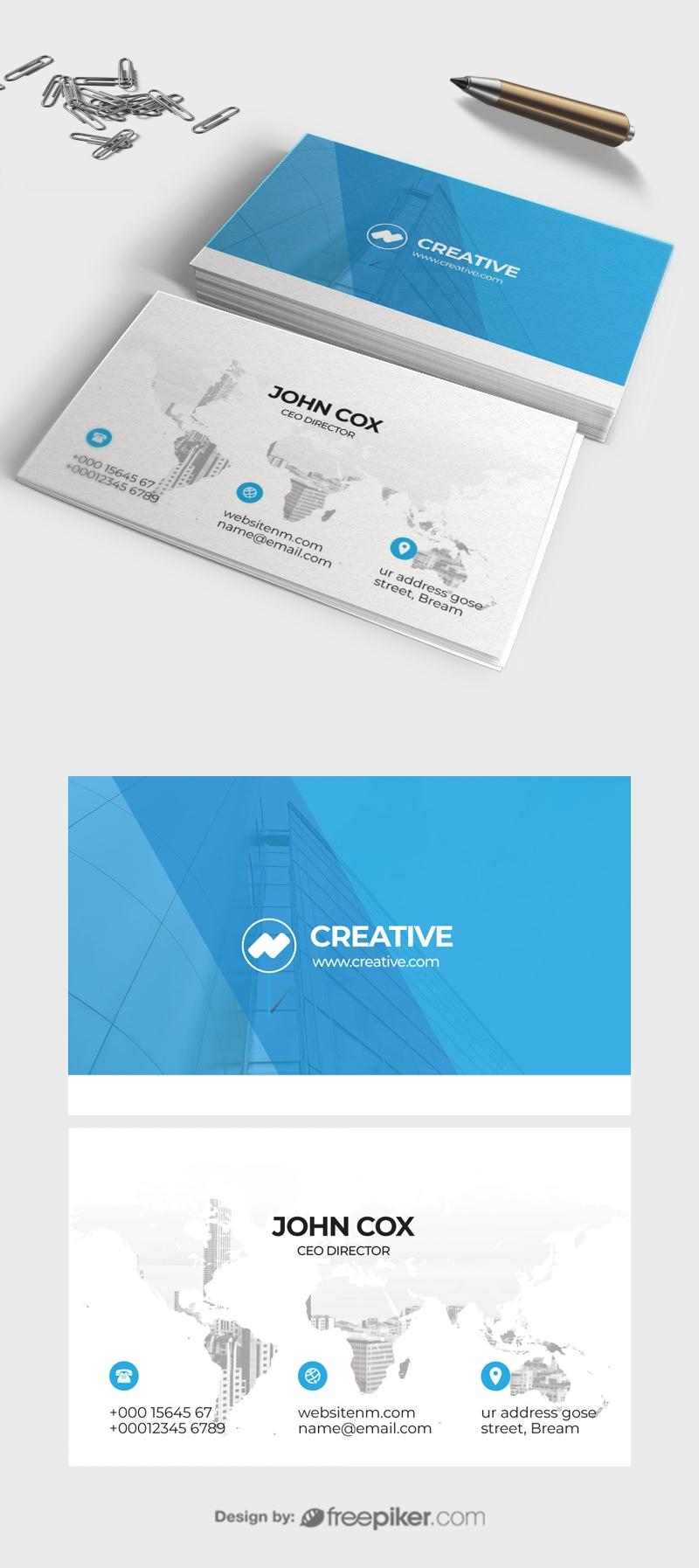 Clean Cyan Business card