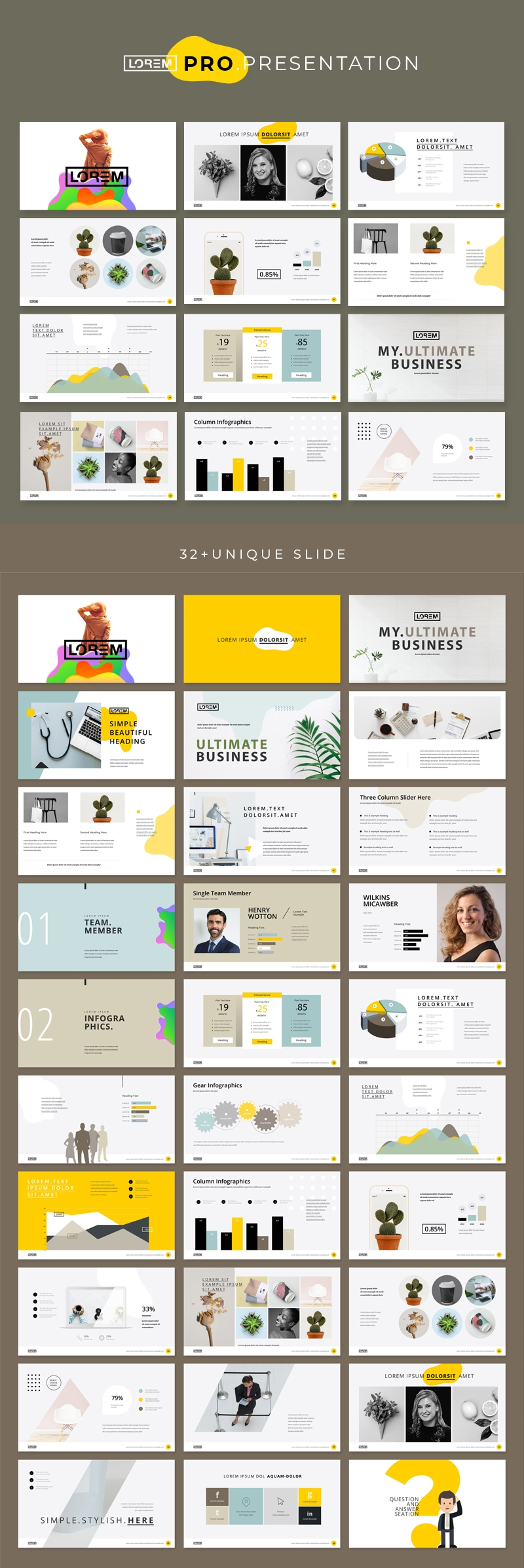 Clean Presentation Layout with Yellow Accents