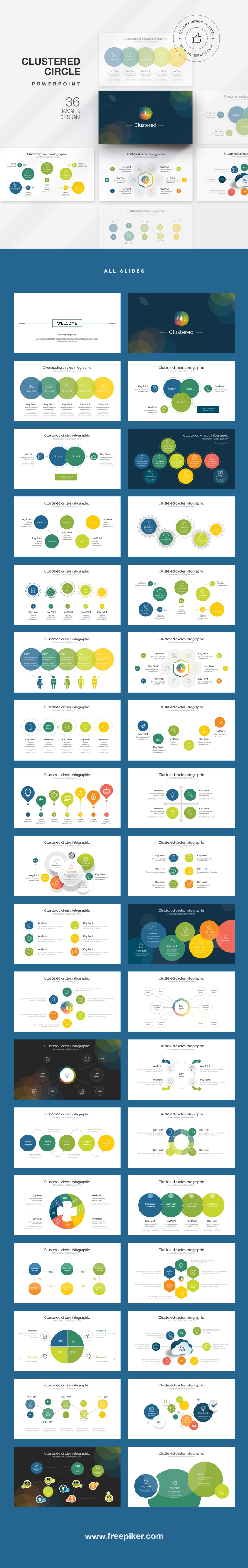 Clustered Circle Infographic PowerPoint