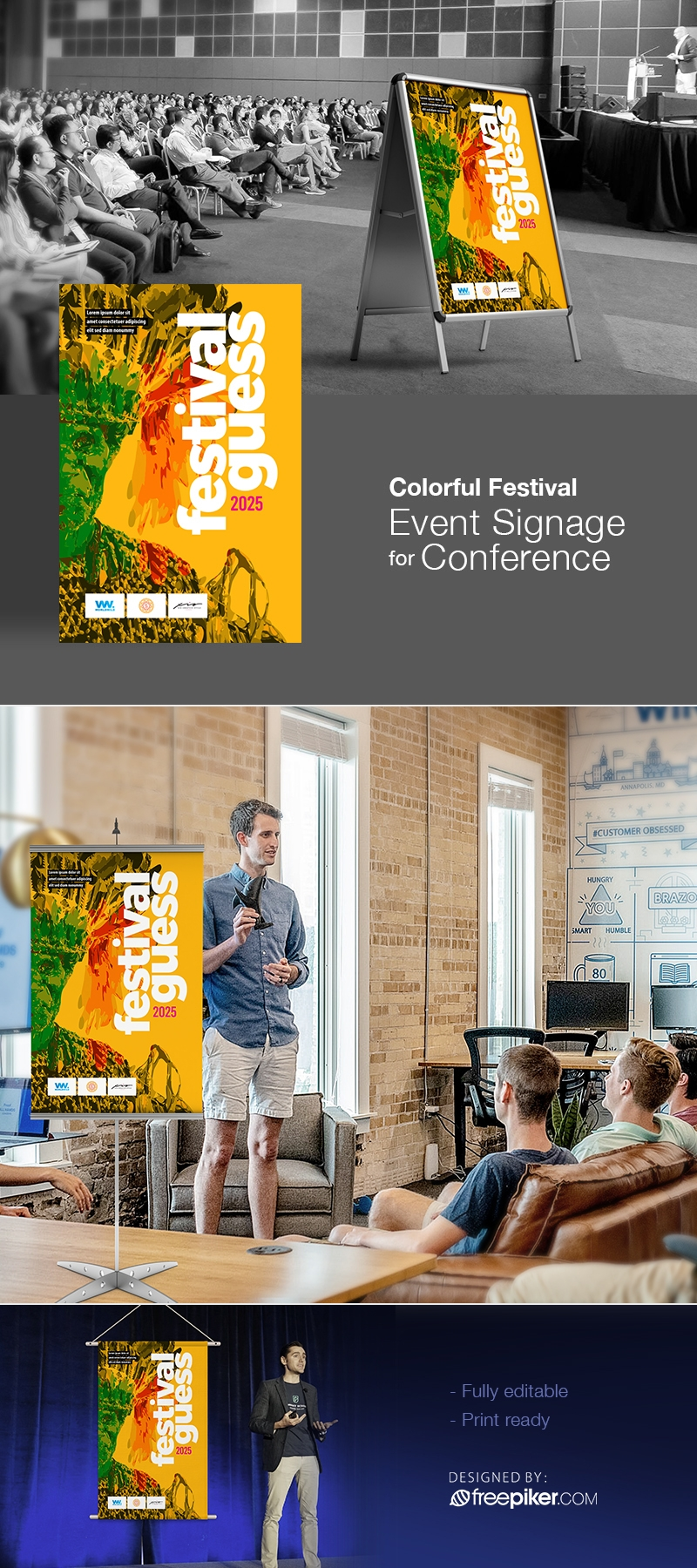 Colourful Festival Event Signage For Conference