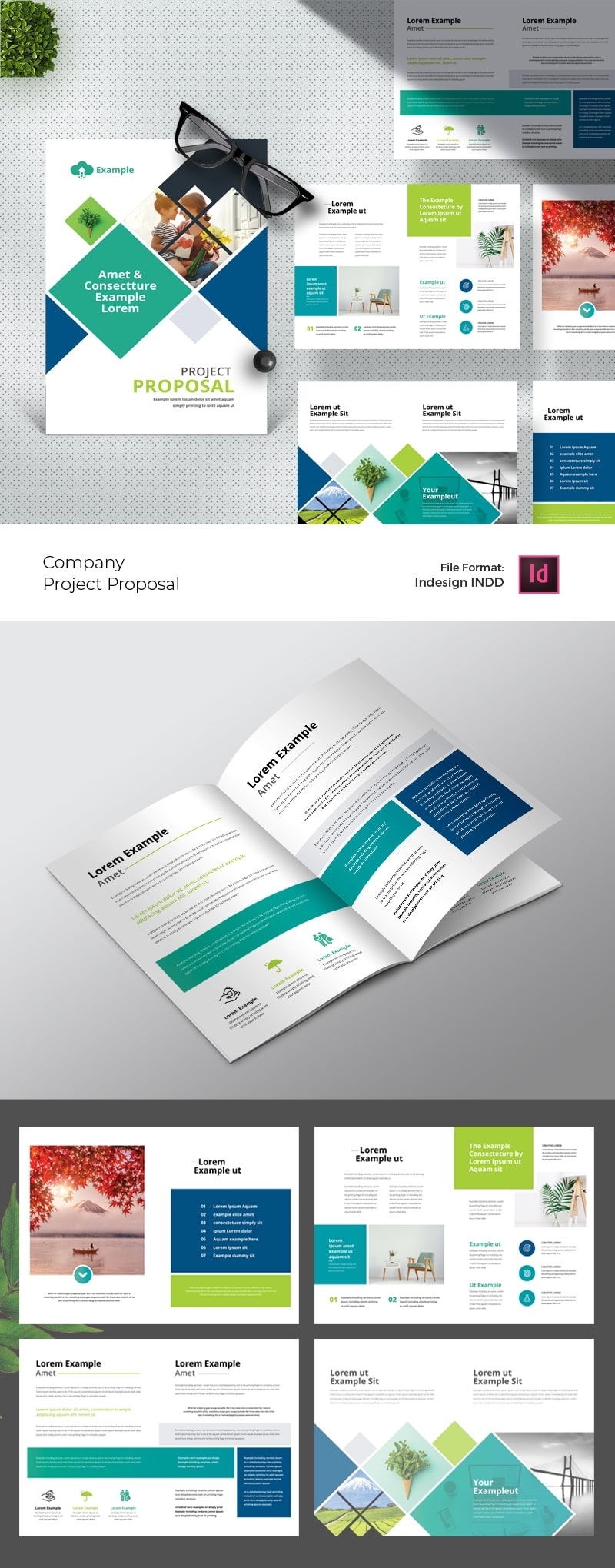 Company Project Proposal Layout with Paste Accent