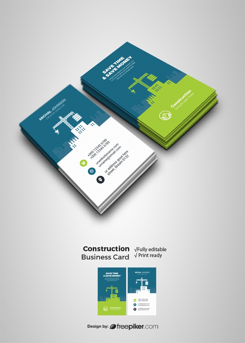 Construction Business Card With Building Element