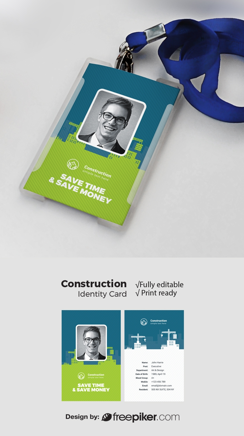Construction Identity Card With Green Blue Elements