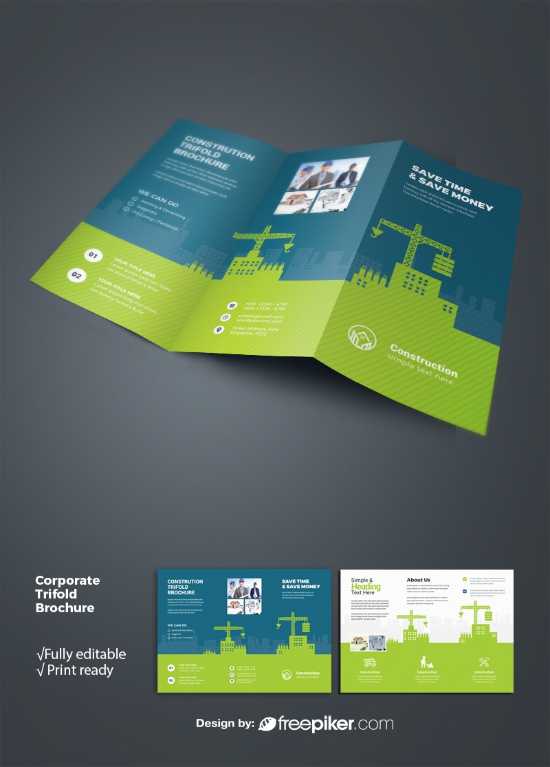 Construction Trifold Brochure With Green Building Elements