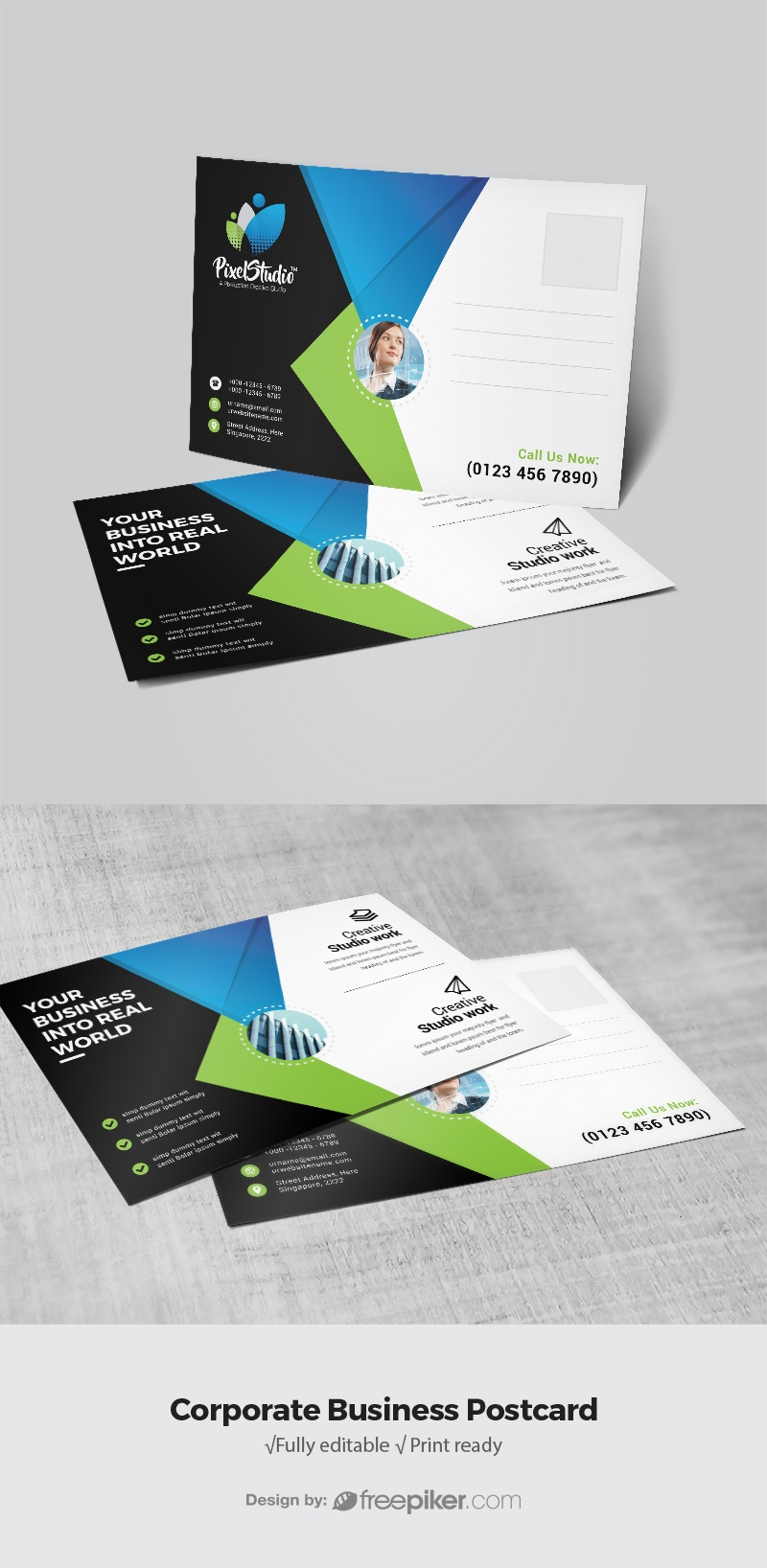 Business Post Card With Blue & Green Accent