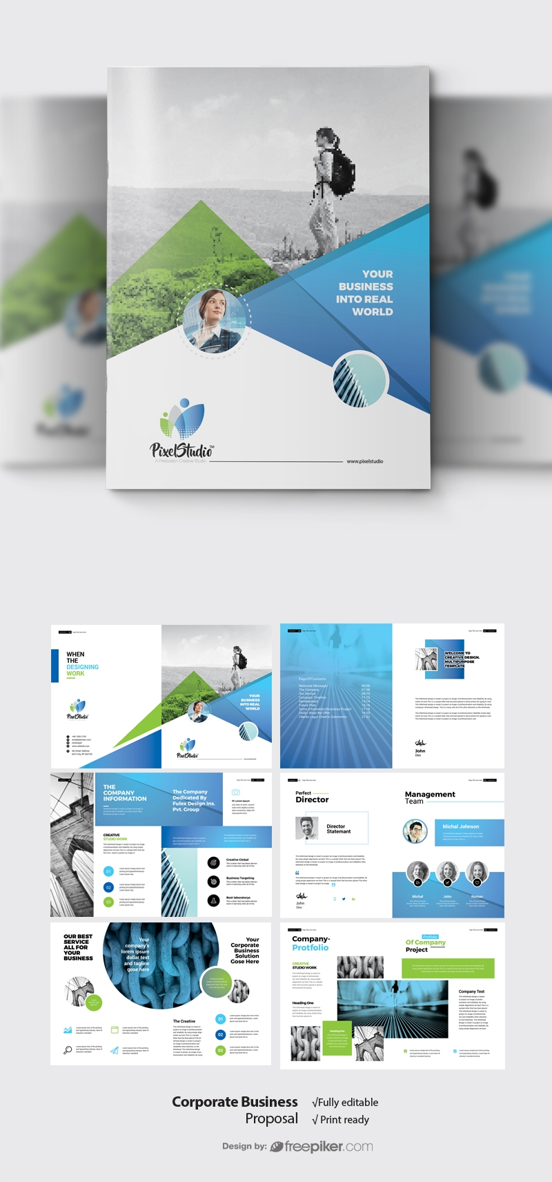 Corporate Business Project Proposal With Blue & Green