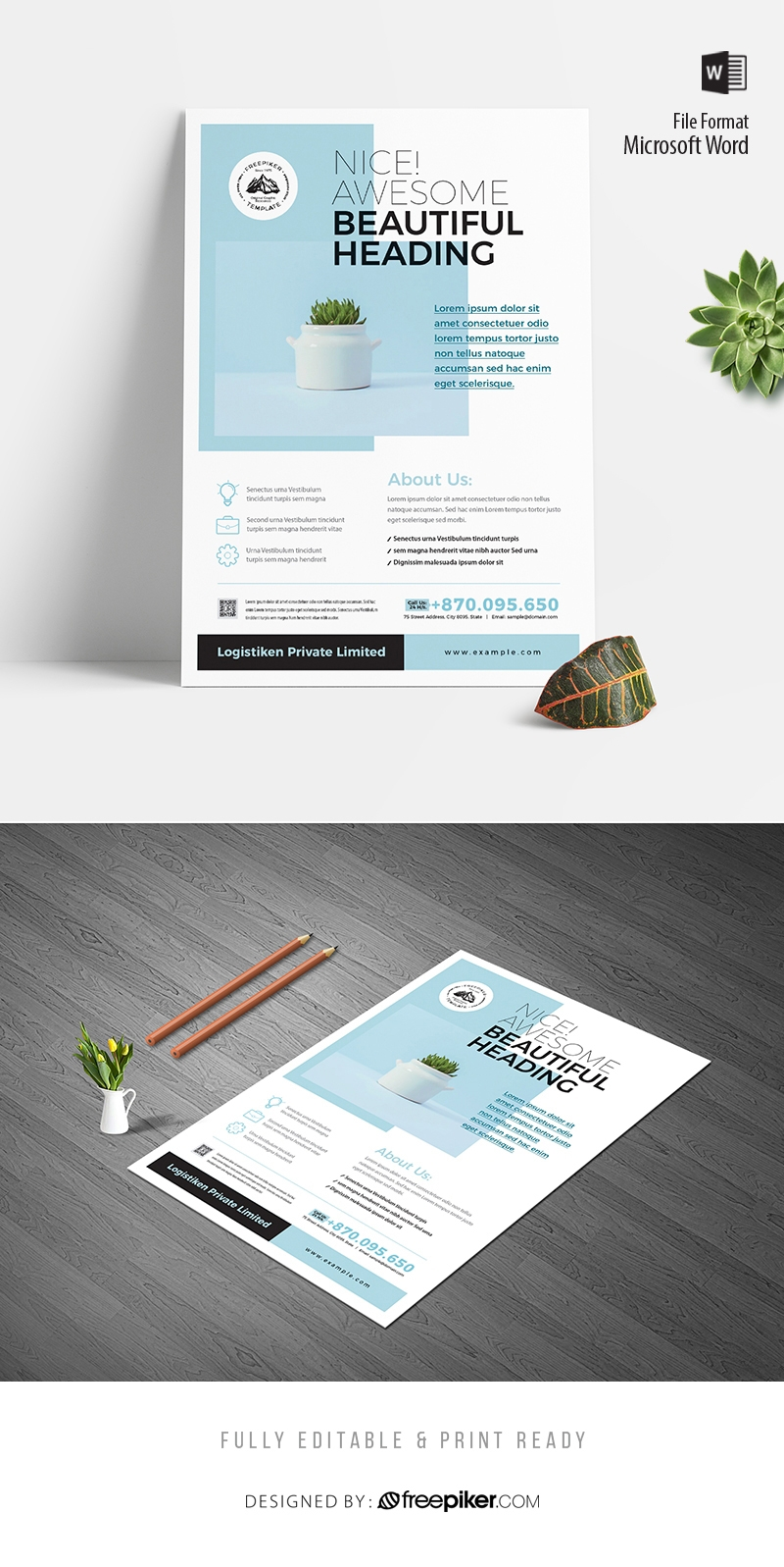 Corporate Flyer With Turquoise Accent