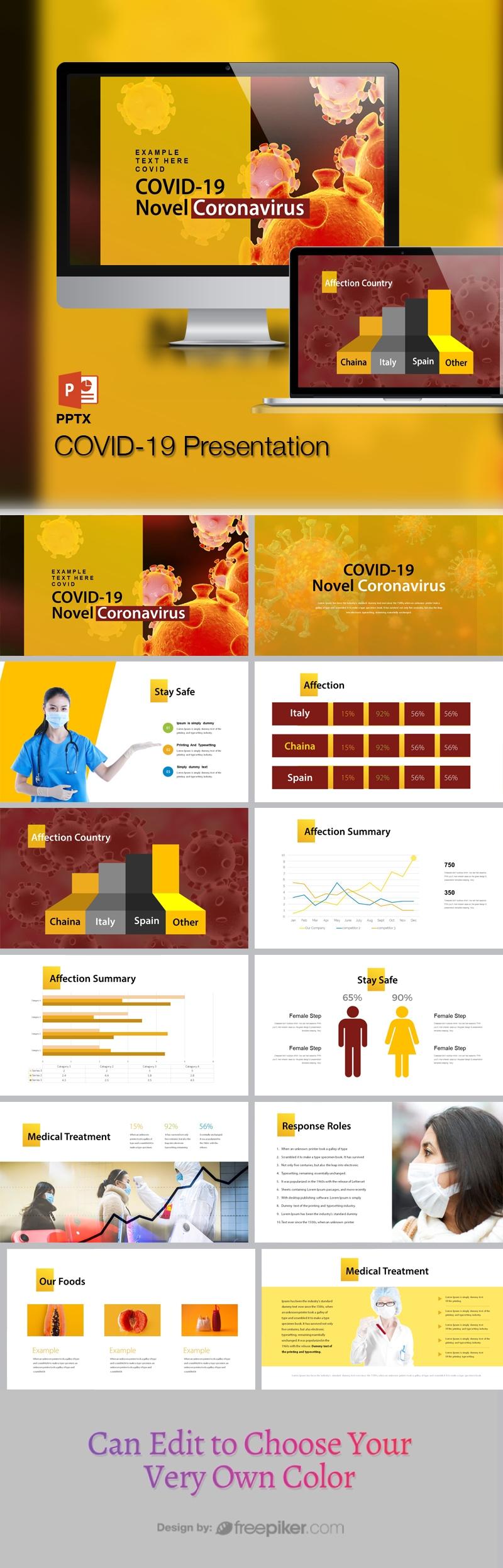 Novel Corona Virus COVID19 PowerPoint Template