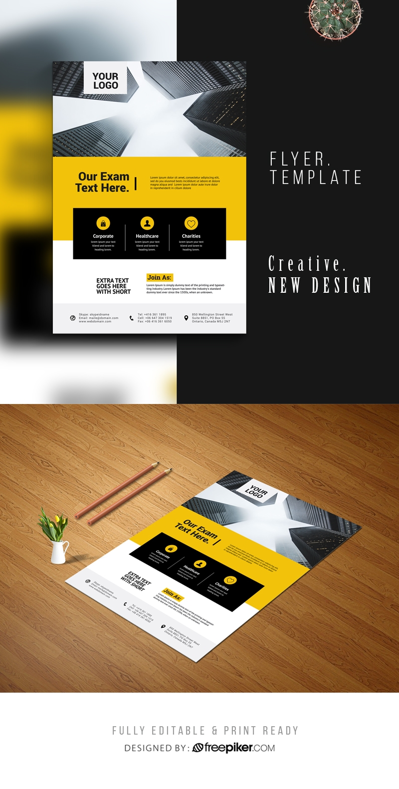 Creative Business Flyer With Blue And Yellow Accent