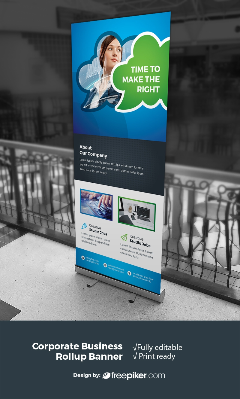 Creative Business Rollup With Blue Green Accent
