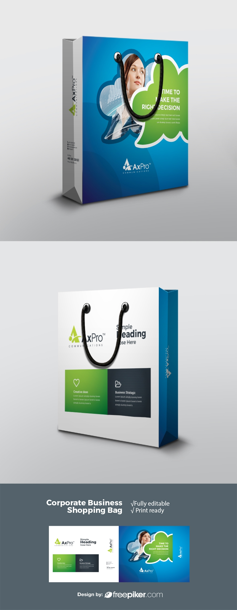Creative Business Shopping Bag With Blue Green Acccent