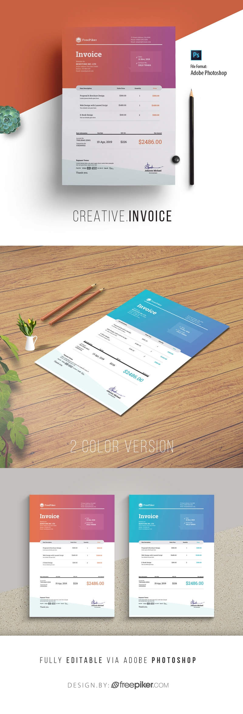Creative Clen Blue Red Invoice Template