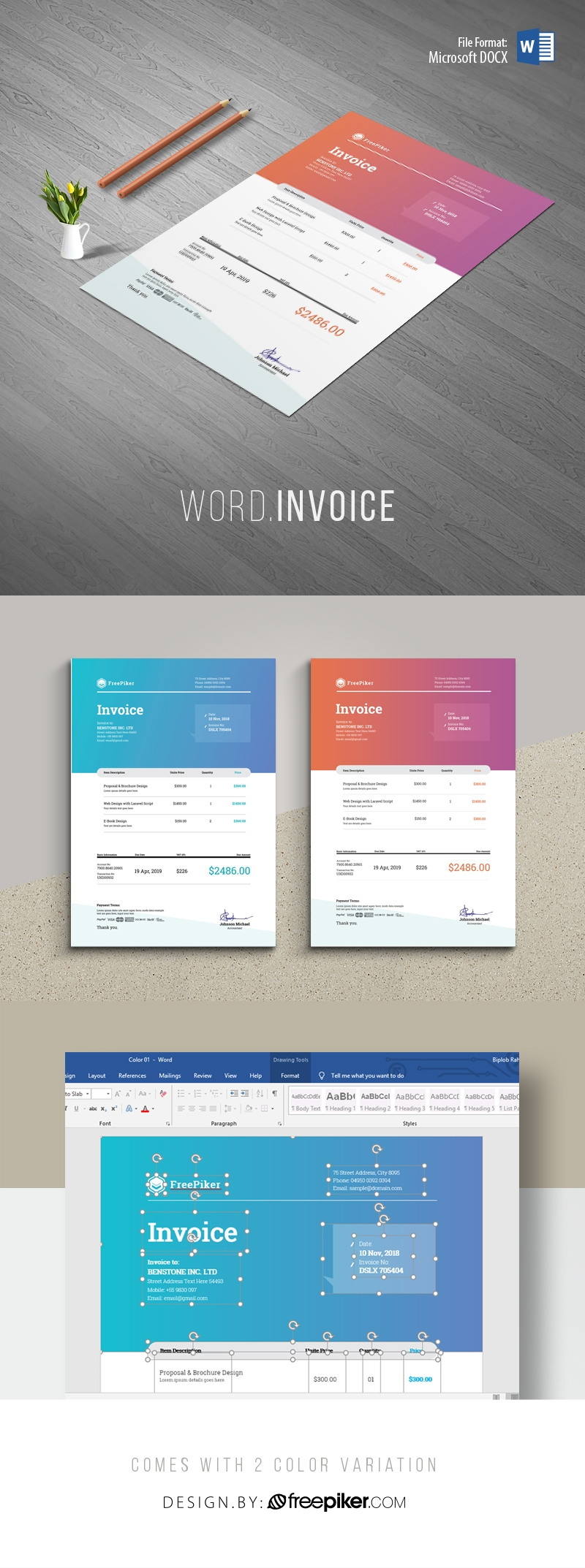 Creative Clen Word Invoice Template