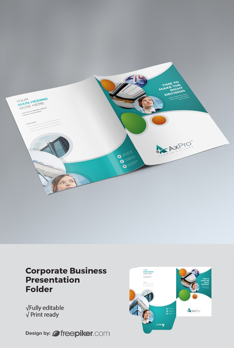 Creative Cricle Presentation Folder With Paste Accent
