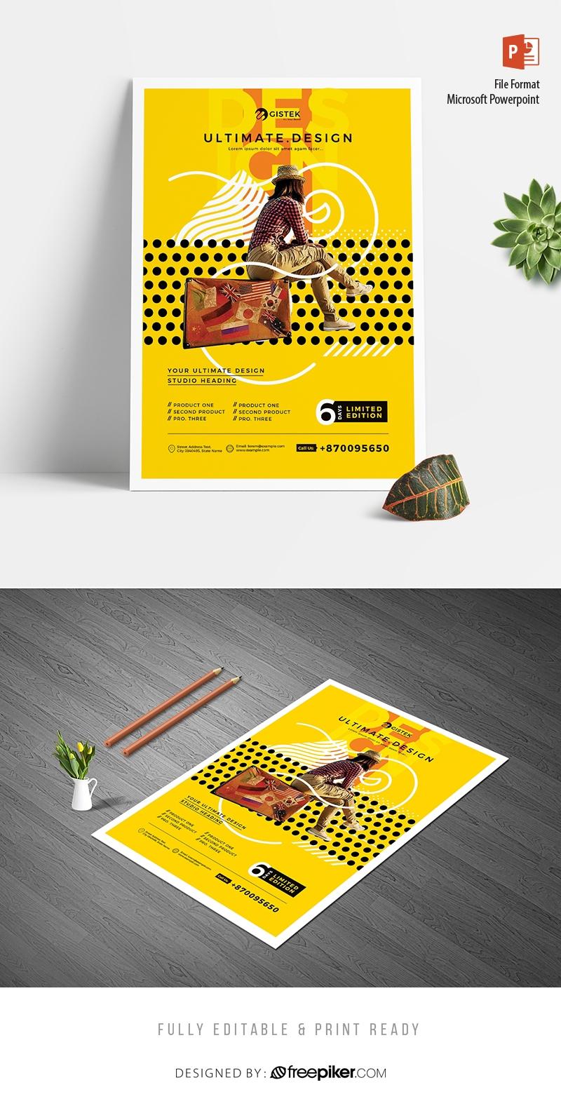 Creative Minimalist Yellow Poster Flyer