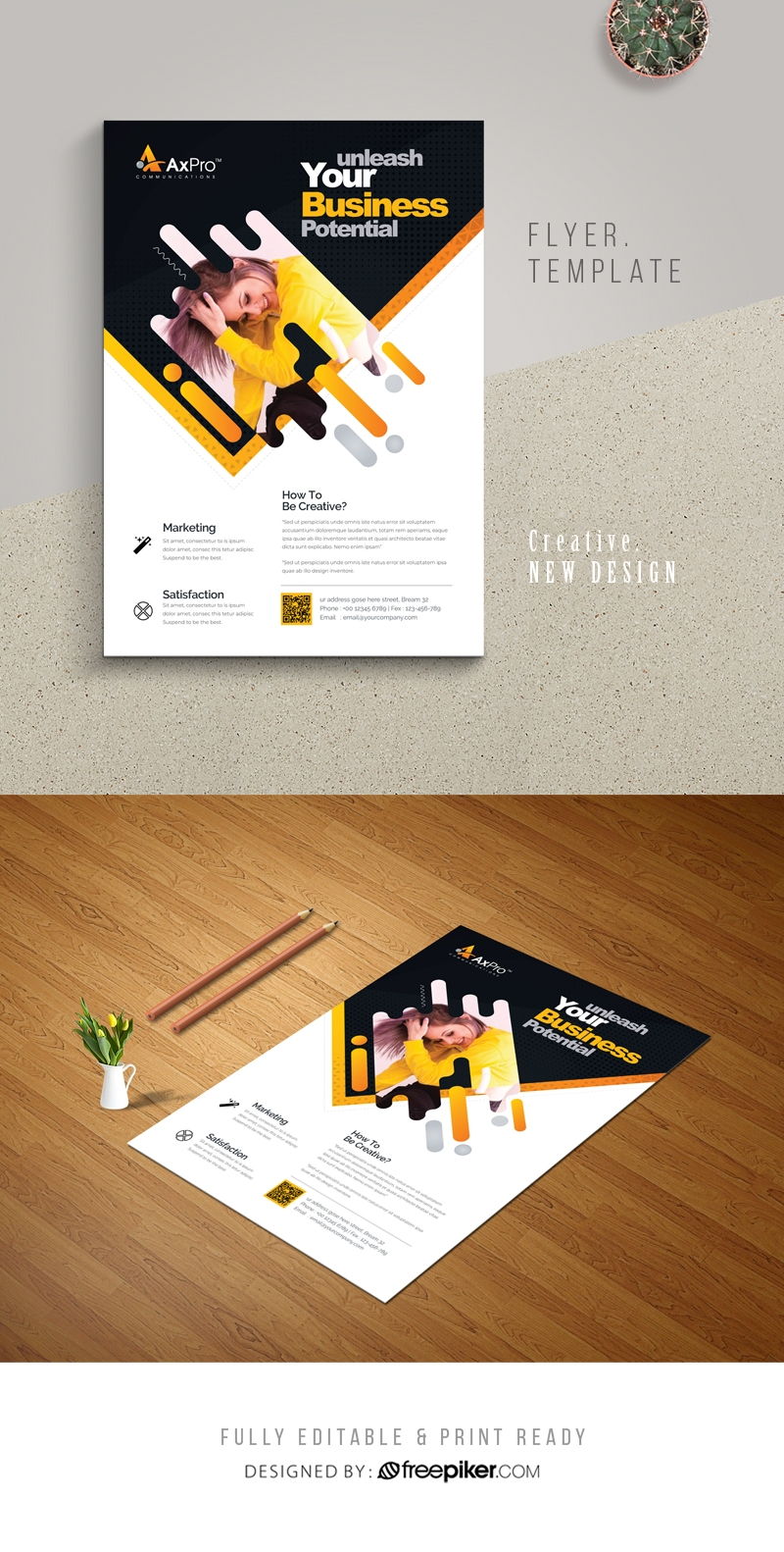 Creative Modern Flyer With Black Accent