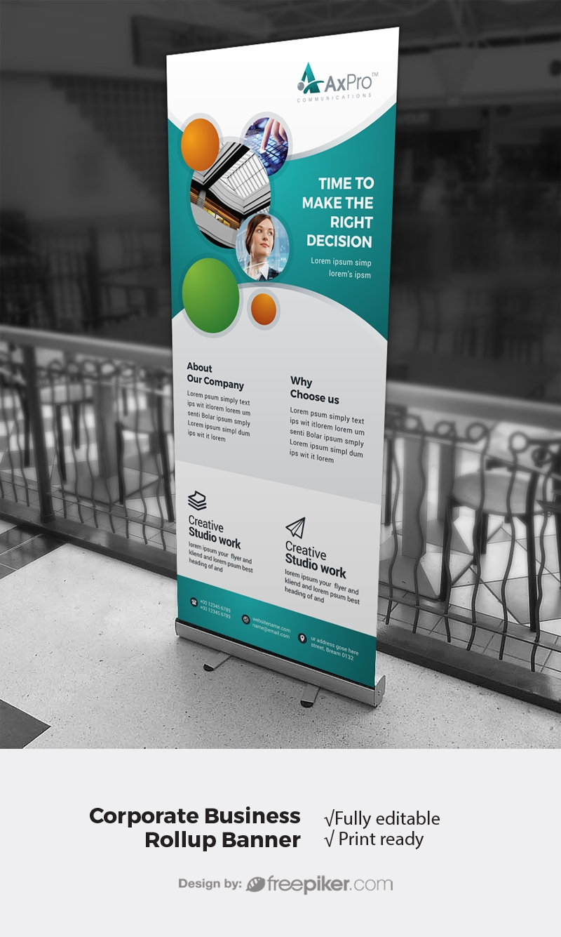 Creative Modern Rollup Banner With Paste Accent