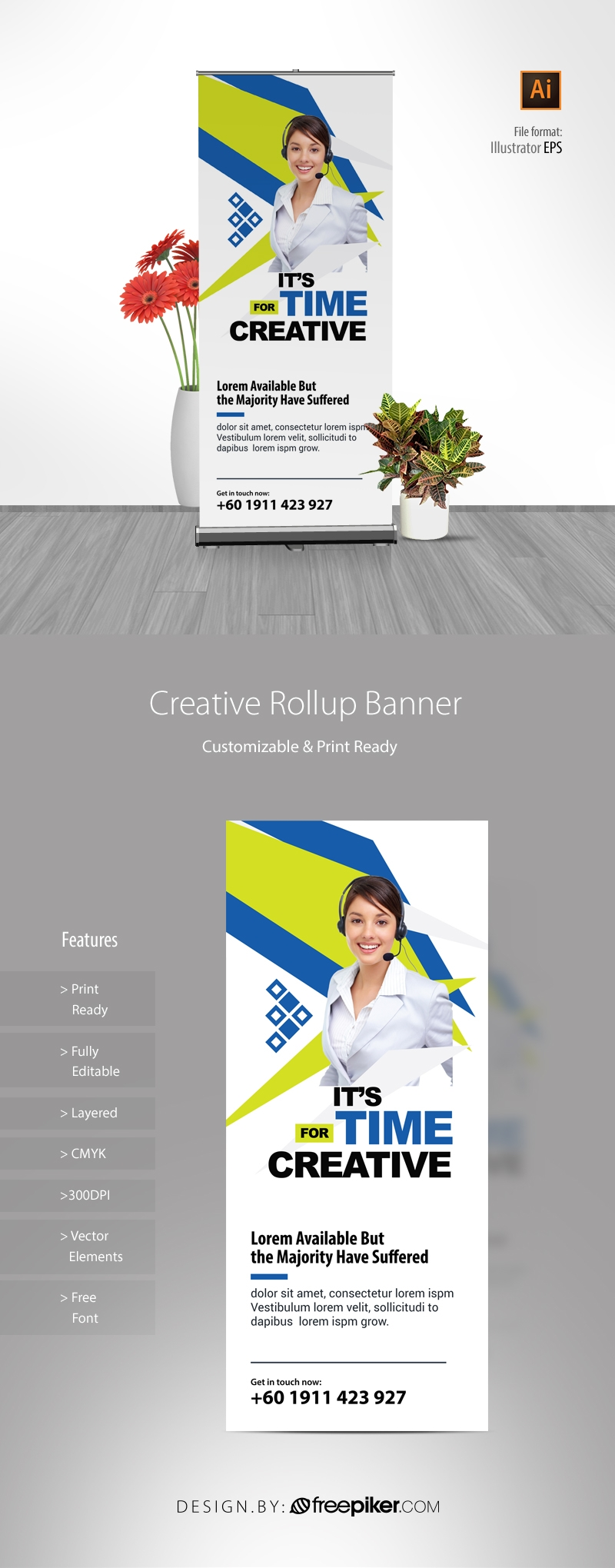 Creative Rollup Banner With Blue And Green Accent