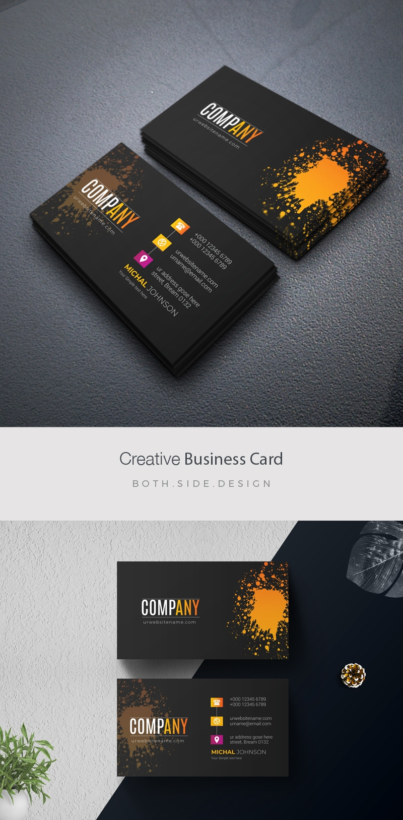 Dark Creative BusinessCard With Yellow