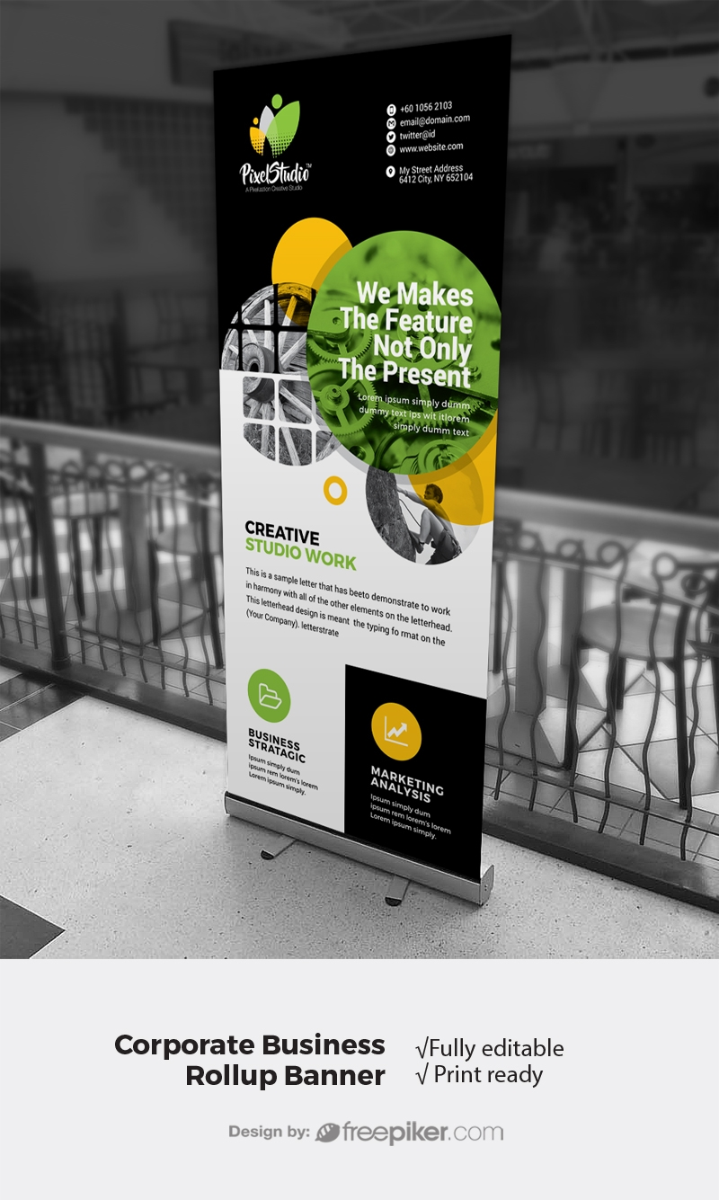 Dark Creative Rollup Banner With Cricle