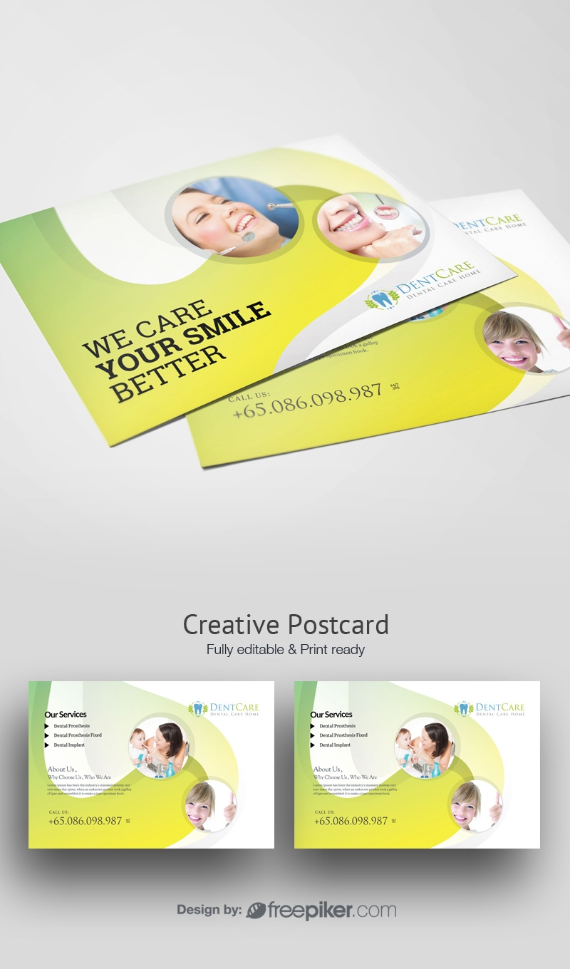 Dental Care Post Card With Circles Abstract