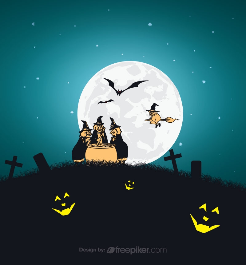 Devil Cross Halloween Conceptual Background At Night Moment