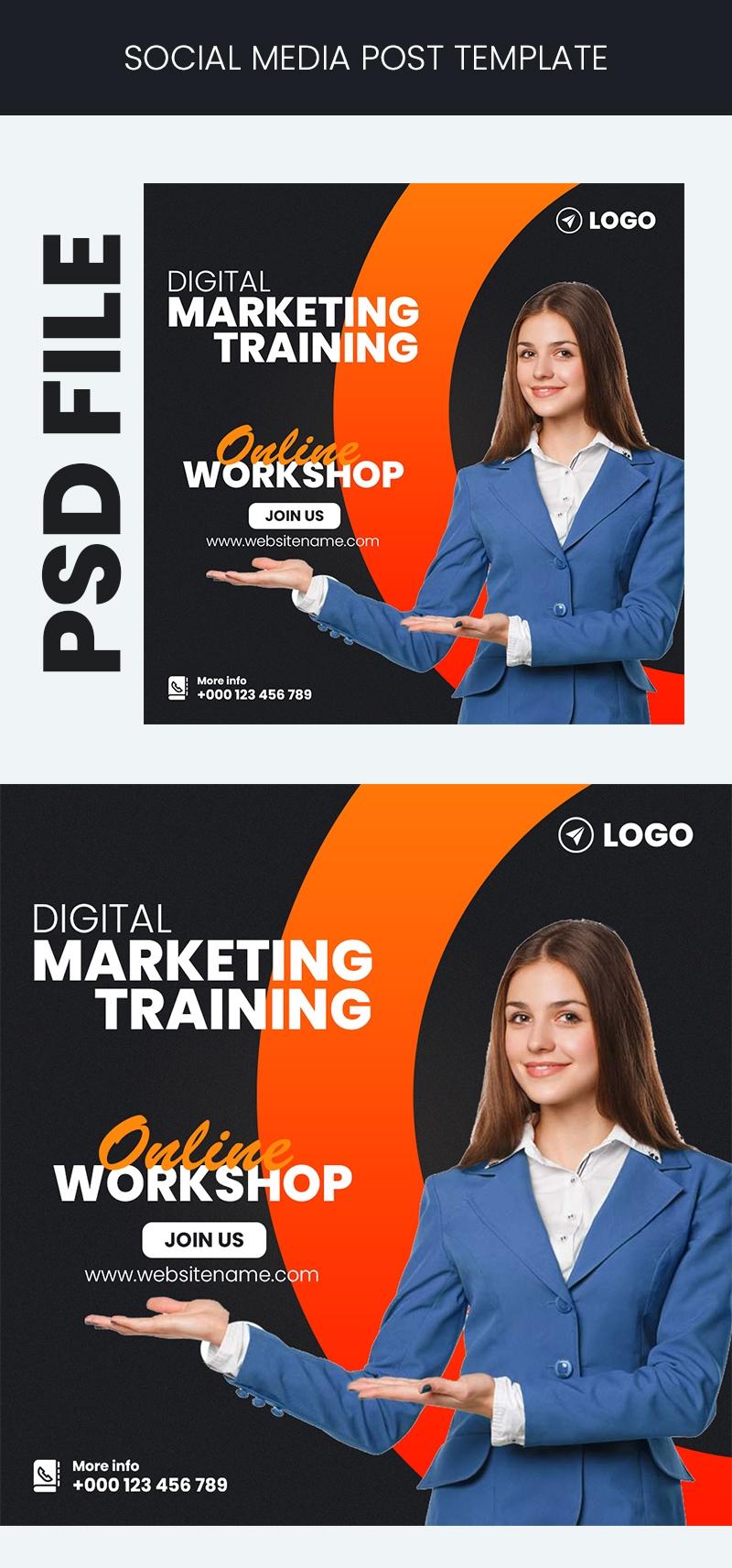 Digital Marketing Training Social Media Post Template