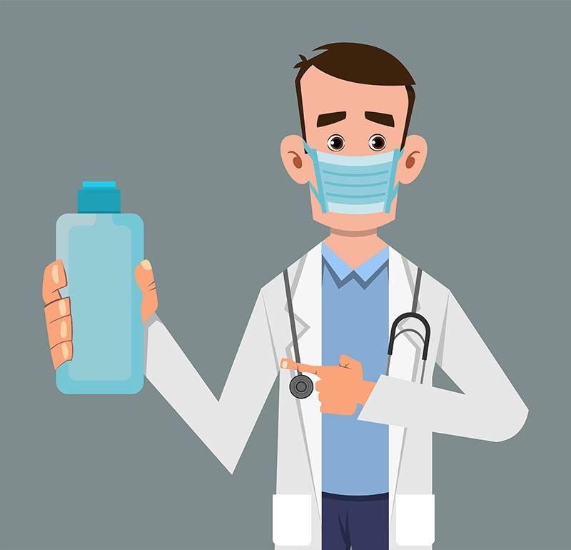 Doctor Holding and Showing Sanitizer Gel Bottle